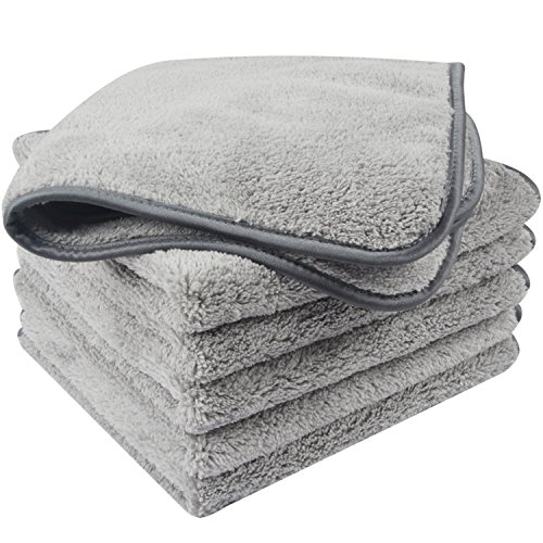 KinHwa Microfiber Car Drying Towels Super Absorbent Car Wash Cloths Scratch Free Car Cleaning Towels Ultra Soft Auto Detailing Towels 380gsm(16Inch x 16Inch, greyx6) ()