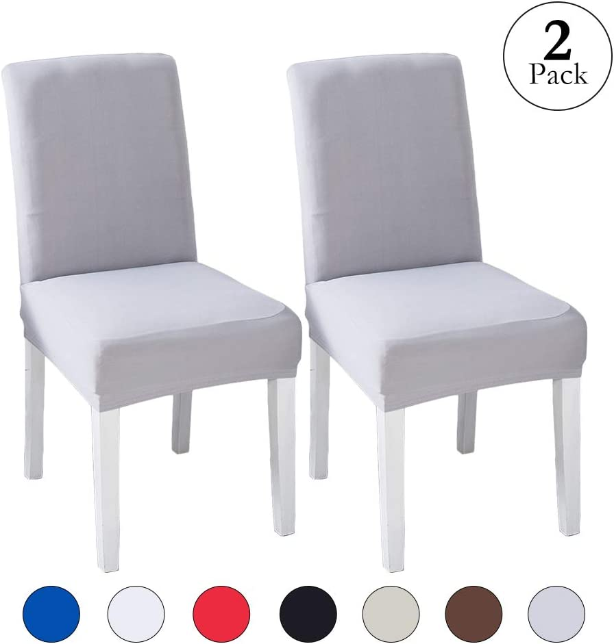 LINENLUX Velvet Spandex Fabric Stretch Dining Room Chair Slipcovers Home Decor (2 Pack, B-Sliver Grey)