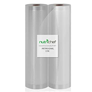 "NutriChef 2 Pack - 11"" X 50' 4 mil Commercial Grade Vacuum Sealer Food Storage Rolls 