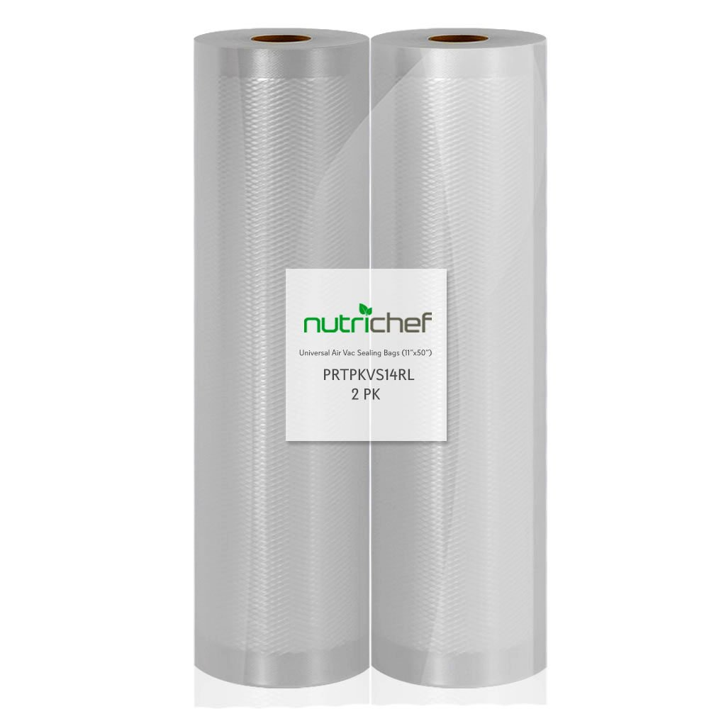 NutriChef Vacuum Sealer Bags, 2 Pack 11x50 Commercial Grade Food Storage Sealer Rolls, Create Your Own Size Bag! For NutriChef, Foodsaver, and Other Brands.
