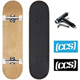 CCS Skateboard Complete - Color Logo and Natural Wood - Fully Assembled - Includes Skateboard Tool and Stickers