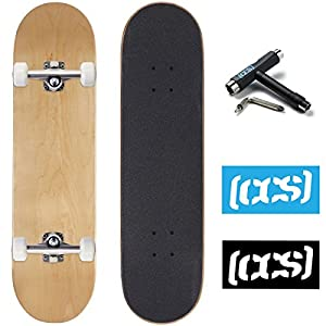 CCS Skateboard Complete – Color Logo and Natural Wood – Fully Assembled – Includes Skateboard Tool and Stickers