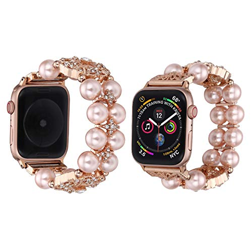 Of Womans Pearl Watch Mother (TILON Jewelry Bracelet Compatible for Apple Watch Band 38mm/40mm 42mm/44mm Series 4/3/2/1, 2019 Adjustable Handmade Dressy iWatch Wristband Bling Lucky Four Leaf Clover Design for Women Girls)