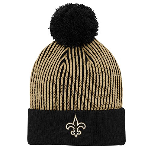 (Outerstuff NFL New Orleans Saints Youth Boys Hidden Rib Cuffed Knit Hat with Pom Black, Youth One Size)