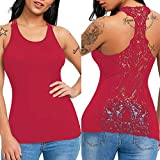 Camisoles of Womens Hollow Sleeveless Sexy Lace Trim Tank Tops U Neck Solid Vest Bustier Fashion Crop Tops Sport Camis Blouse Red