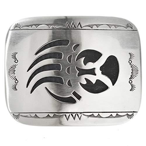 - Navajo Longmire Bear Paw Belt Buckle Handcrafted Overlaid Silver 3232