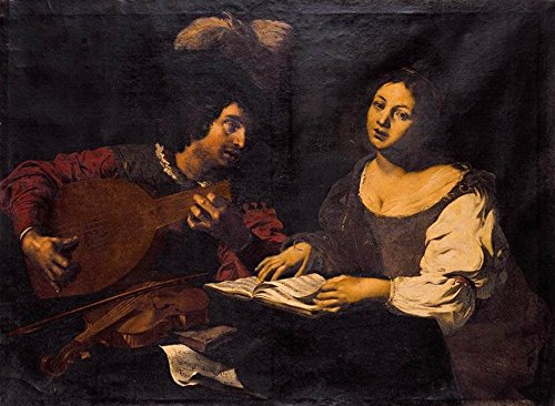 A Musician Playing a Lute to a Singing Girl by Nicolas Regnier - 21
