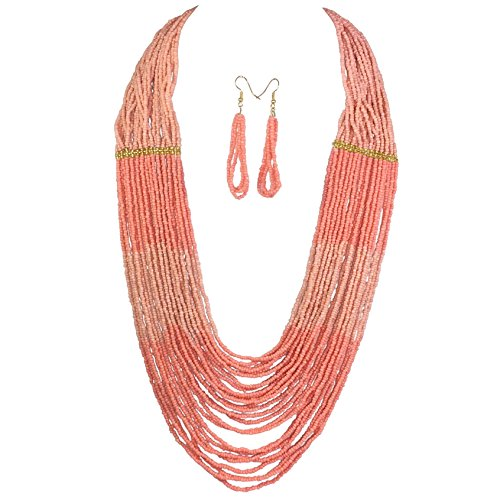 (Long BOHO Chic Multi Row Layered Seed Bead Statement Necklace and Dangle Earring Set (Peach)