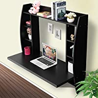 LAZYMOON Wall Mount Floating Computer Desk Storage Shelf Home Office Furniture Black