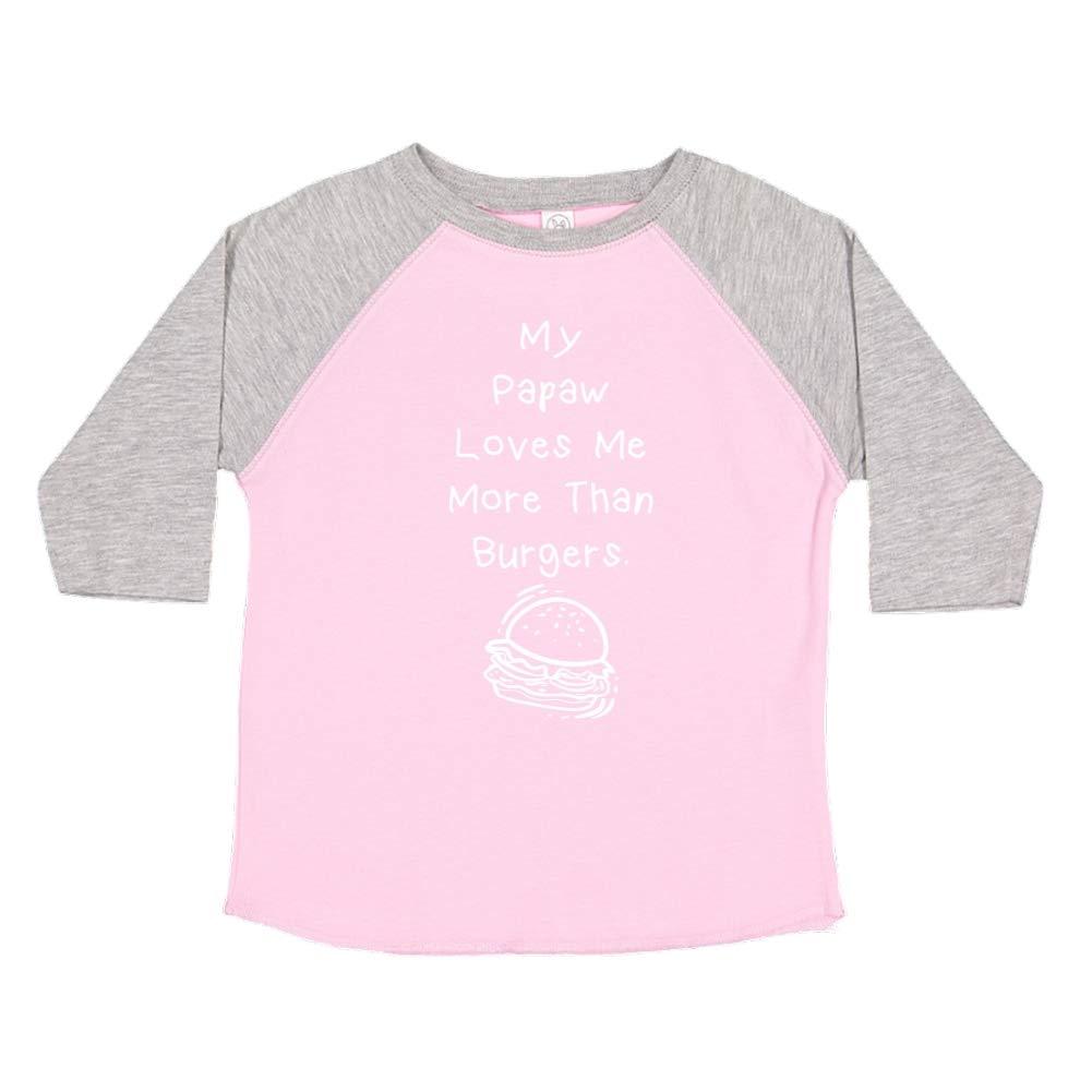 Toddler//Kids Raglan T-Shirt My Papaw Loves Me More Than Burgers