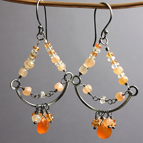 Sterling Silver Chandeliers with Peach Moonstone, Carnelian, and Sapphires