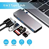 USB C Hub, 6 in 1 Type C Aluminum Hub Adapter with 3 x USB 3.0 Ports, TF/SD Card Reader, USB C Port with 40Gb/S Speed, Support for MacBook Air 2018, MacBook Pro 13″ and 15″2016-2018