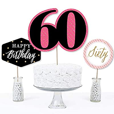 Chic 60th Birthday - Pink, Black and Gold - Birthday Party Centerpiece Sticks - Table Toppers - Set of 15: Toys & Games