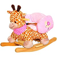 Edxtech Kids Toy Plush Rocking Horse Ride on Rocker Giraffe Style Children Gift With Songs