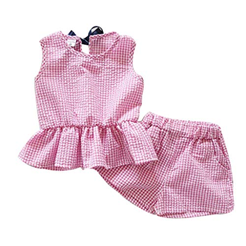 Elegant Casual Toddler Clothes,Toddler Kids Baby Girls Outfits Clothes Plaid Sleeveless Vest T-Shirt+Shorts Set,Shi TOU_Children,Boy Child Sports Suit Baby Baby Sweater Pink