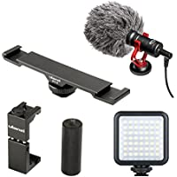 Ulanzi Smartphone Video Kit with Metal Phone Tripod Mount & Handle Grip, BY-MM1 Microphone, 49 LED Light - for iPhone 5, 5C, 5S, 6, 6S, 7, 8, X (Regular and Plus), Samsung Galaxy,Note&Android Phones