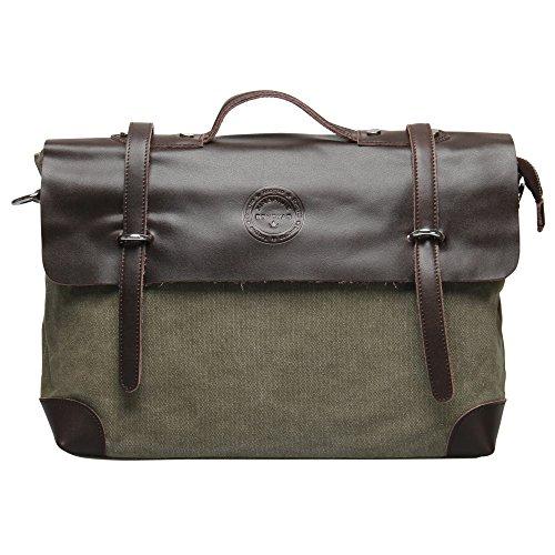 Hynes Eagle Retro Business Briefcases Canvas Leather Messenger Bag (Oliver)