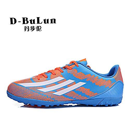 Xing Lin Fußballschuhe Kinder Fußball Schuhe Männer Und Frauen Gebrochen Nail Ausbildung Schuhe Mädchen Jungen Anti-Kunstrasen Trainingsschuhe Kompaktlader Blue Orange