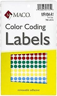 MACO Etiquetas de codificación de color amarillo redondas, Assorted Primary, 768 per Box