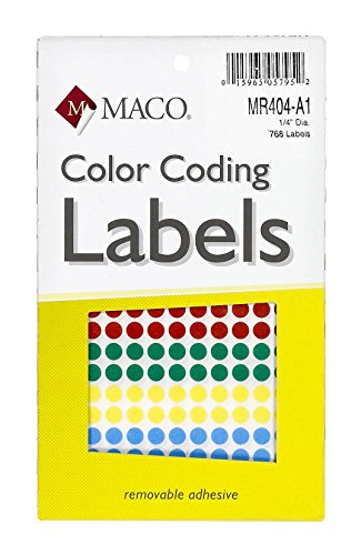 MACO Assorted Primary Round Color Coding Labels, 1/4 Inches in Diameter, 768 Per Box, Red/Blue/Yellow/Green - Blank A1 Canvas