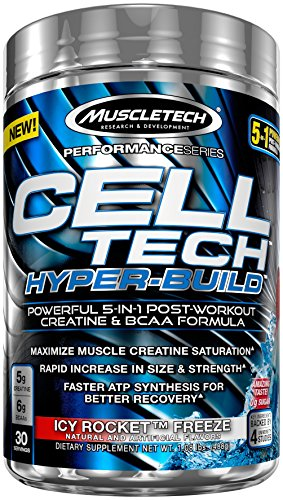 MuscleTech Cell Tech Hyperbuild, 5 in 1 Post Workout Creatine Powder and BCAA Aminos, Icy Rocket Freeze, 30 Servings