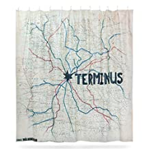 """Walking Dead Shower Curtain- Terminus Map Edition by ThinkGeek- 72"""" Tall and 72"""" Wide"""