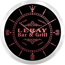 ncu26197-r LERAY Family Name Bar & Grill Cold Beer Neon Sign LED Wall Clock