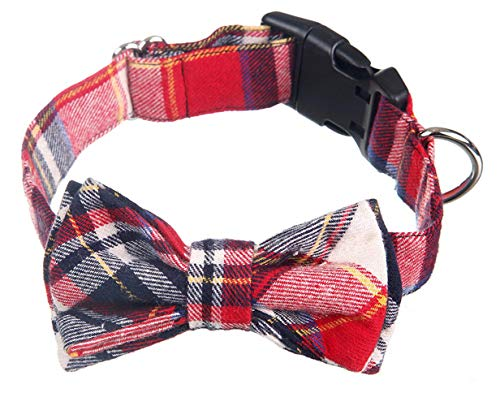 Dog and Cat Collar with Bowtie Grid collar Plastic Buckle Light Adjustable Collars- 100% Cotton Design for Cute Fashion Dogs Puppy Cat Collar with Bow Ties Red,Brown, Blue, Plaid Stripe Pattern