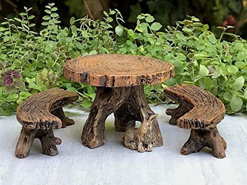(Fairy Garden & DollHouse Build a Fairy Garden Miniature Dollhouse Fairy Garden Furniture ~ Resin Log Table with Two Benches Ideas for Everyone)