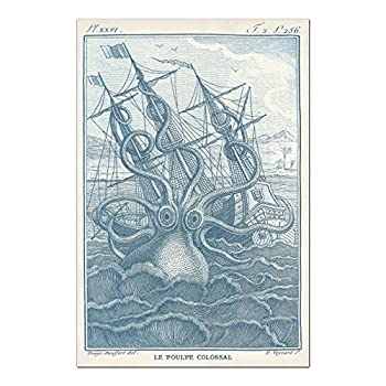 Octopus Print or Octopus Poster in Provincial Blue & Ivory, Kraken Attacking A Ship on a Stormy Sea Illustration