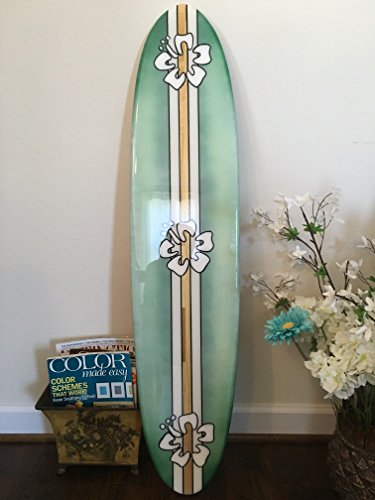 Surfboard wall hanging. Four foot decorative surfboard wall art. Green with hibiscus. by Flyone Boardshop