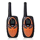 YETION Kids Walkie Talkies 2 Pack Long Range Distance Max 5KM Two Radio 22 Channel UHF Built-in Microphone Children Walkies Talky (Orange)