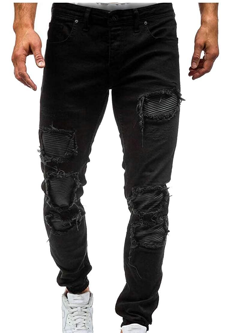 CYJ-shiba Mens Destroyed Jeans Plain Stretc Distressed Jeans Denim Pants