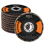 "4-1/2"" X 7/8"" Flap Disc 80 Grit 10-Pack, Tacklife Premium Aluminum Oxide Flap Wheel, Type 29 for Grinding, Sanding and Finishing - Passed Strict MPA EN13743 Test 