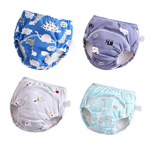 U0U Baby Girls' 4 Pack Cotton Training Pants Toddler Potty Training Underwear for Boys and Girls 12M-4T (Boys, 12M-2T)