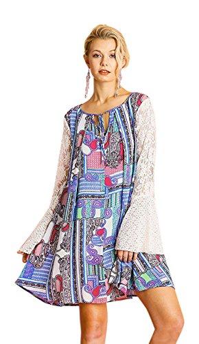 - Umgee Women's Paisley Lace Keyhole Mini Dress (Medium, Fuchsia/Blue)