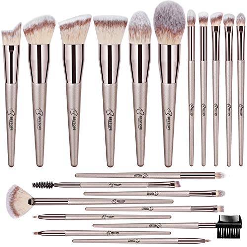 BESTOPE 20 PCs Makeup Brushes Premium Synthetic Concealers Foundation Powder Eye Shadows Makeup Brushes with Champagne Gold Conical Handle (Brushes Makeup Mark)
