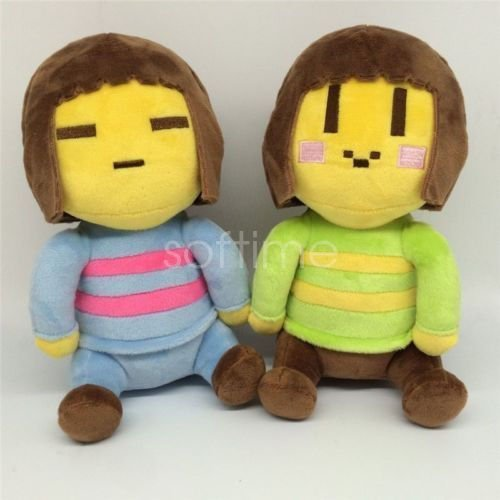 Shalleen SOFT 2PCS Undertale Frisk and Chara Plush Doll Figure Toys 20CM