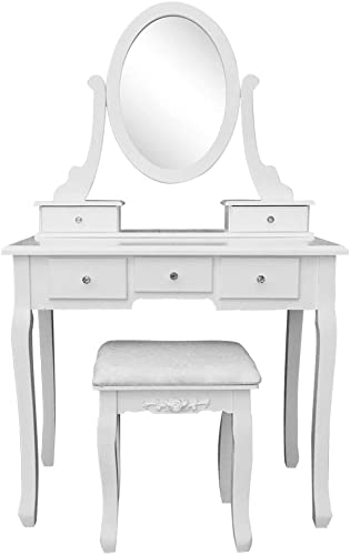 Vanity Table Set with Mirror 5 Drawers Dressing Table Vanity Makeup Table with Chair White