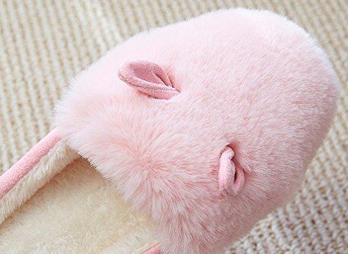 Cattior Mujeres Cute Bunny Furry Slippers Ladies Pantuflas Rosa