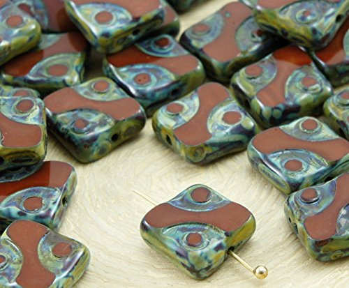 6pcs Picasso Brown Window Table Cut Flat Square Czech Glass Beads 10mm