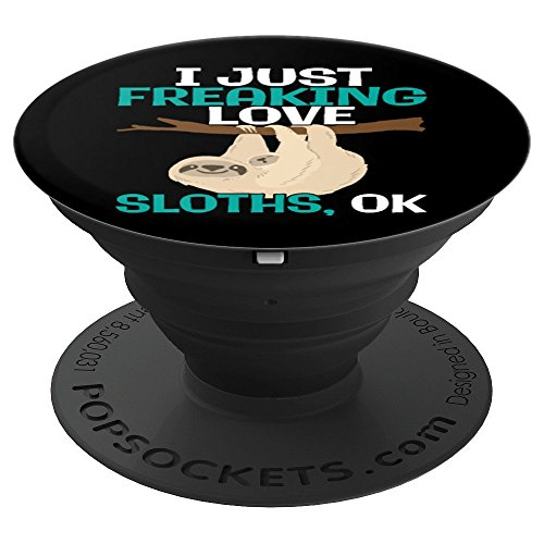 Funny I Just Freaking Love Sloths OK in Black - PopSockets Grip and Stand for Phones and Tablets ()