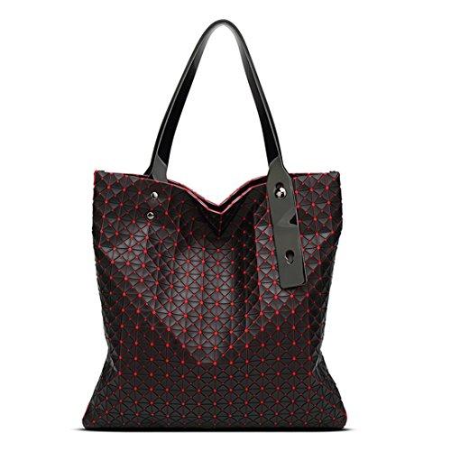 Bolso de mujer Gel de sílice Tote Geometry Bolso acolchado geométrico Mosaico Bolsas de hombro negro Red