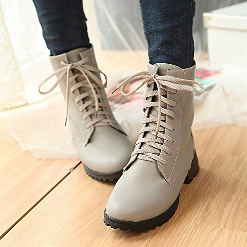 Low Lace Shine Boots heel Ankle Fashion Show high Leather Women's Grey up wAIdqnY6