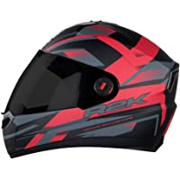 Steelbird SBA-1 R2K Full Face Graphics Helmet in Matt Finish with Smoke Visor (Large 600 MM, Matt Black with Red)