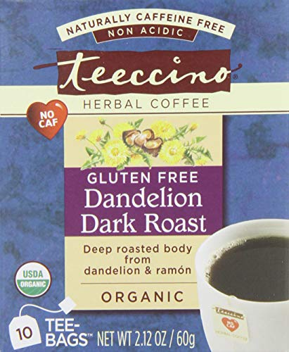 Teeccino Organic Dandelion Dark Roast Detox Herbal Tea, Caffeine free, Gluten free, Acid Free, Prebiotic 10 Tea - Roma Bag Gear