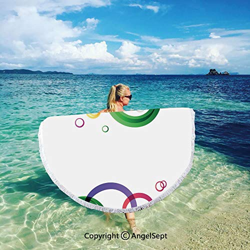 Thick Round Beach Towel Blanket Green Leaf Large Microfiber Circular Blanket Ultra Soft Super Water Absorbent,Abstract,Lively Rings on White Background in Abstract Manner Festive Colors Pattern Decora