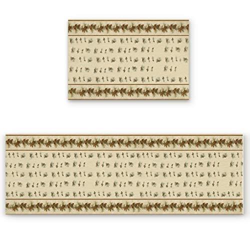 (ZOE GARDEN 2 pcs Decorative Kitchen Rugs Doormat Set, Christmas Pine Cones Pine Needles Non-Slip Welcome Mats Bath Rug Runner Area Mats Sets, 19.7x31.5in + 19.7x63in)
