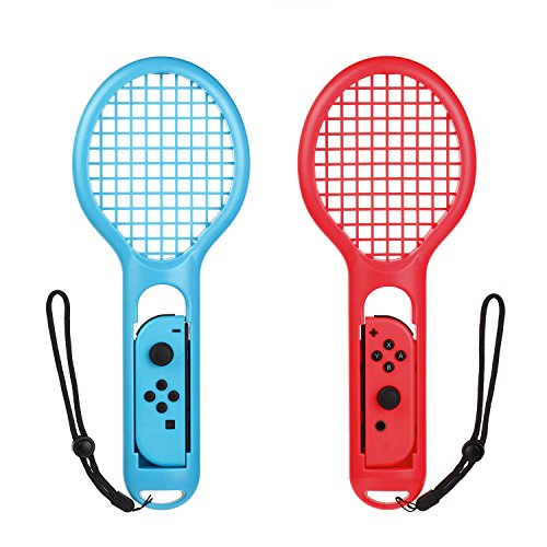 (Morotek Tennis Racquet for Nintendo Switch Joy-Con Controllers, 2 Pieces Tennis Racket for Mario Tennis Aces,ARMS and Motion Sensing Games)
