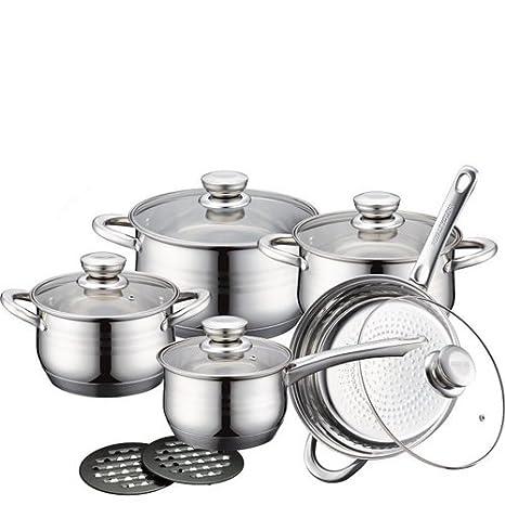 Juego batería Royalty Line Switzerland 12 Piezas con Tapa, batería de ollas y sartenes de Acero Inoxidable Ideal para cocinar Platos fantásticos de Cocina: ...